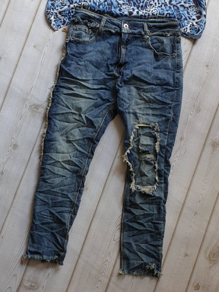 Stretch 36 destroyed Cropped Jeans Hose PLACE DU JOUR ausgefranst unterlegt