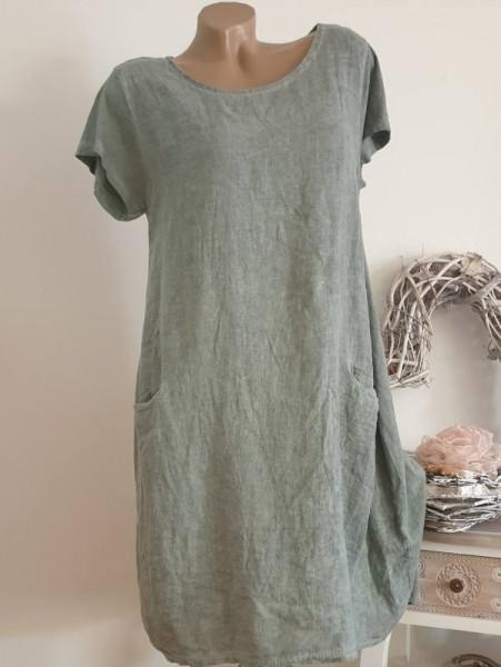 Kurzarmkleid olivgrün A-Linie Taschen Kleid 38 40 42 Baumwolle Italy