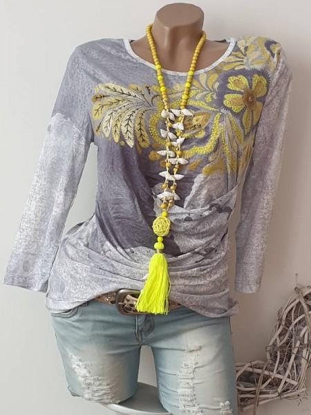 MISSY neon gelb grau Ausbrenner Tunika Shirt Print S 36 Raffung 3/4 Ärmel