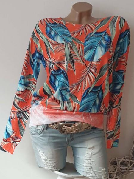 Tropical Print bunt M/L 38 40 Pulli Pullover MISSY Glitzer Nieten