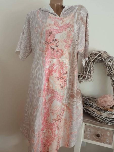 NEU MISSY oversized long Tunika Kleid S/M 36 38 Kapuze Romantik Print