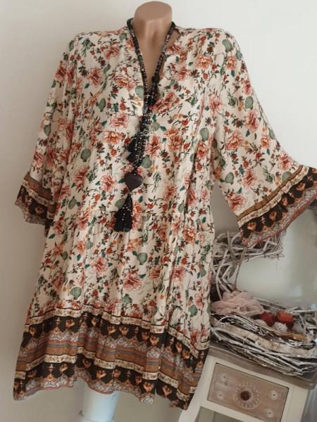Kleid 40 42 44 weiss gemustertes Tunika Hängerchen Viskose