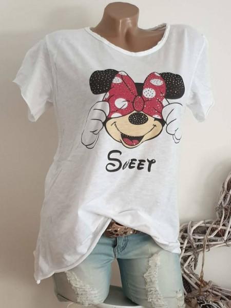 40 42 44 Tunika Glitzer Nieten unfinished weiss Mouse Italy T-Shirt Shirt