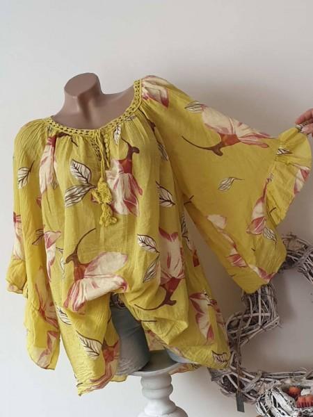 weite Ärmel gelb floral Tunika Bluse 44 46 48 50 Baumwolle Italy