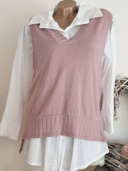 2tlg weiss rosa Bluse mit Pullover Weste 38 40 42 Hemdbluse Neu