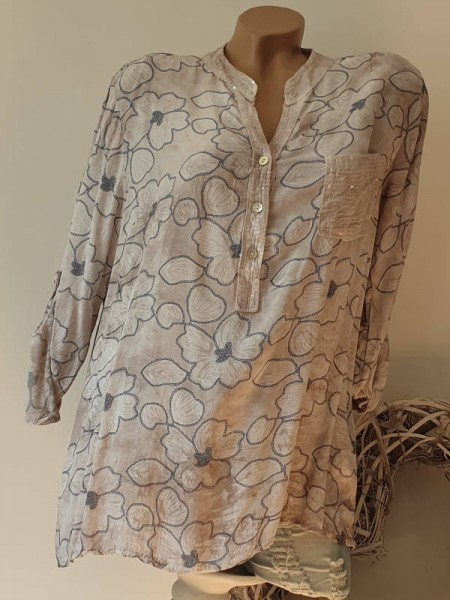 Hemdbluse Bluse Fischerhemd Blumen Muster Pailetten 38 40 42 Tunika sand beige