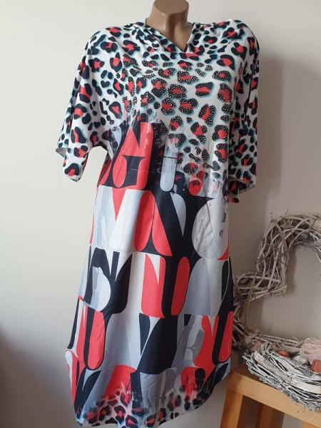 Kapuzenkleid M/L 38 40 NEU MISSY oversize Tunika Kleid rot schwarz Leo Print
