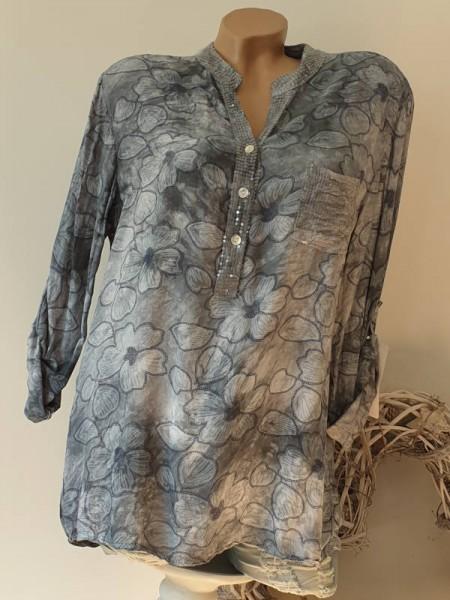 grau gebatikte Hemdbluse Bluse Fischerhemd Blumen Pailetten 38 40 42 Tunika