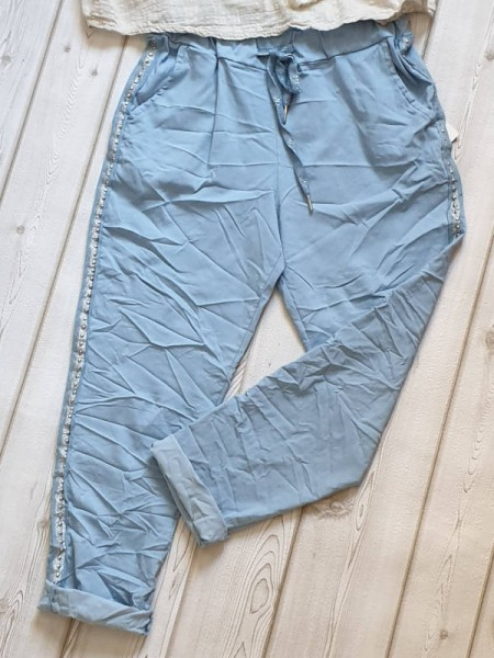 hellblau 38 40 42 Joggpants Hose seitlich Nieten Glitzerband Neu
