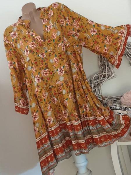 Tunika Kleid 40 42 44 Stiefelkleid senfgelb gemustert Hängerchen Viskose