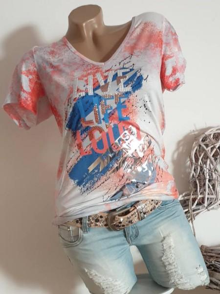 XL 42 V-Neck MISSY T-Shirt Shirt Glitzer Nieten und Metallic NEU