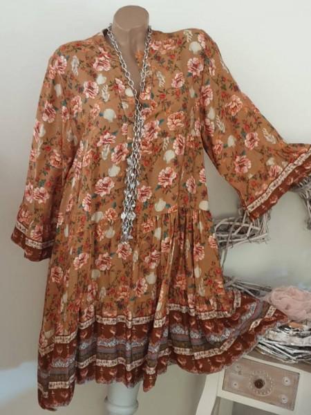 Tunika Kleid 40 42 44 Stiefelkleid ocker gemustert Hängerchen Viskose