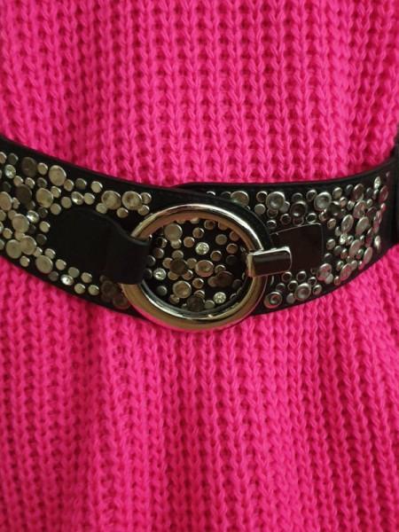 schwarz Gürtel Stretchgürtel Taillengürtel Hüftgürtel Glitzer Nieten 83cm