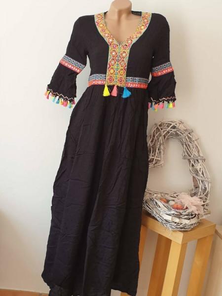 Maxikleid schwarz S/M 36 38 Kleid Stickerei Quaste Hippie Ibiza 1/2 Ärmel