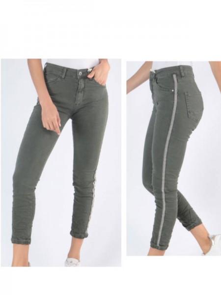 Jeans MELLY & CO khaki grün Hose Skinny XS 34 silber Metall Perlen Streifen