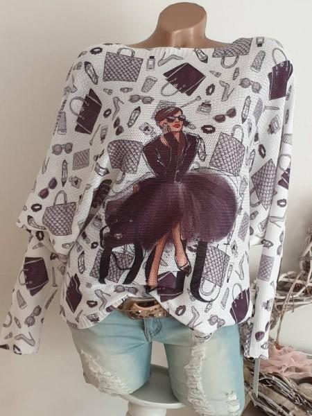 Tunika 38 40 42 Pulli Pullover Fashion Print Fledermausarm Feinstrick
