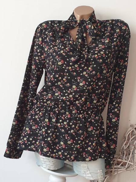 Bluse Schluppenbluse Tunika M 38 schwarz Blümchen Taille mit Gummizug Neu