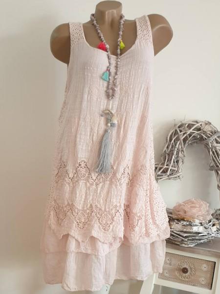 rosa 36 38 40 Tunika Kleid 2-lagig Stufenkleid Stickerei Spitze