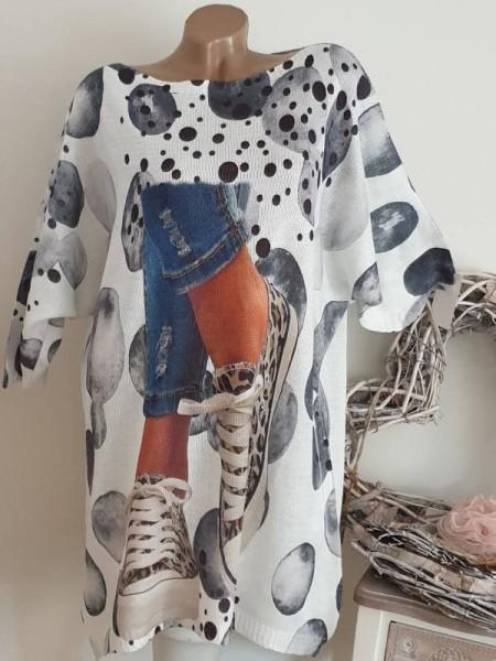 42 44 46 Street Print Italy Feinstrick Long Tunika Kleid Strickkleid weiss bunt