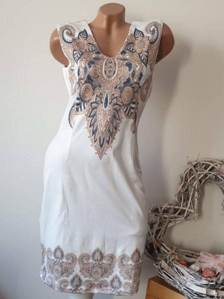Kleid MISSY ärmellos V-Neck L 40 stretch butterweich Glitzer weiss paisley Neu