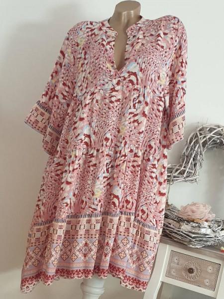 Viskose Kleid 40 42 44 rosa gemustert Tunika Hängerchen