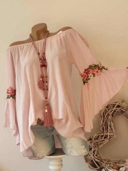 Blütenstickerei Carmen rosa Tunika Bluse 38 40 42 Italy Off Shoulder Neu