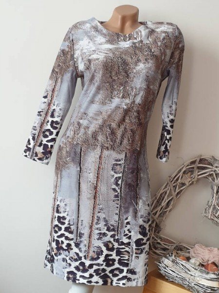 L 40 Leo Mix Print MISSY Stretchkleid Etuikleid Kleid 3/4 Ärmel Neu Glitzer