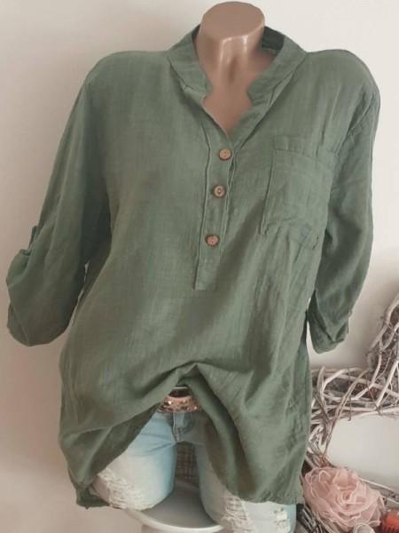 Italy Hemdbluse 40 42 44 lässige Tunika Bluse oliv grün Leinenoptik