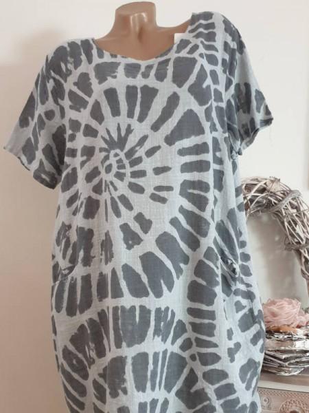 Kleid Ballonform grau gemustert Taschen 42 44 46 Kurzarm Italy Tunika