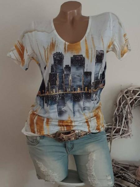 V-Neck MISSY T-Shirt Shirt S 36 weiss gemustert Nieten Print NEU