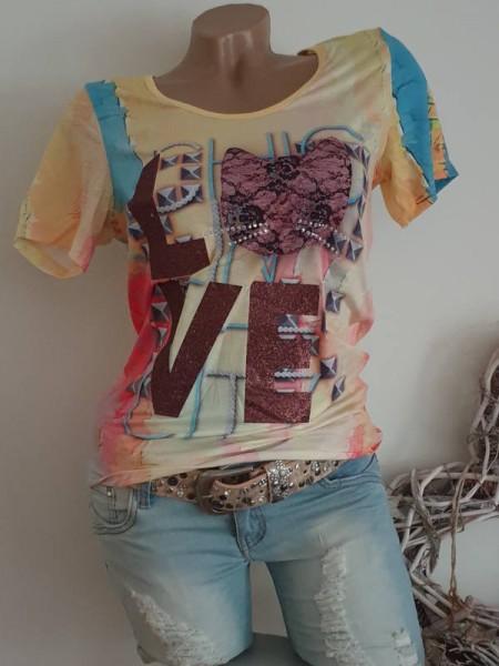 MISSY T-Shirt Shirt L 40 gelb bunt Katze Glitzer Nieten NEU