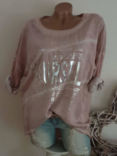 rosa Neue Kollektion Tunika 40 42 44 Bluse Metallicprint sichtbare Aussennähte