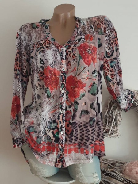 Tunika Bluse Hemdbluse XL 42 MISSY Knopfleiste Leo Floral bunt hinten Spitzeneinsatz