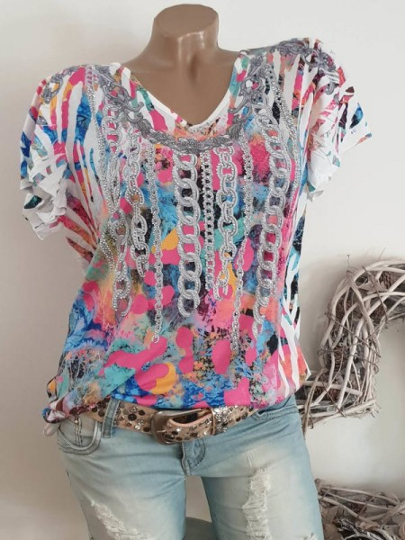 bunte Tunika Kettchenprint V-Neck MISSY Tunika Shirt M 38 40 Nieten Print NEU