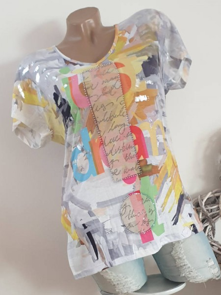 MISSY S 36 Kurzarm Tunika Shirt Seitenschlitze bunt Glitzer Metallprint