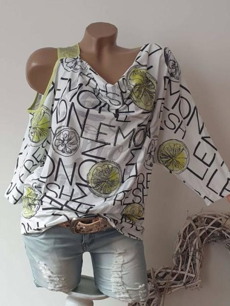 Tunika Shirt Lemon Print L 40 Schulterfrei Nietenträger Raffung MISSY Glitzer