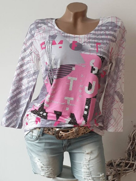 Neu XL 42 MISSY kleines Bündchen Tunika Shirt rosa grau Zahlen Print Glitzer