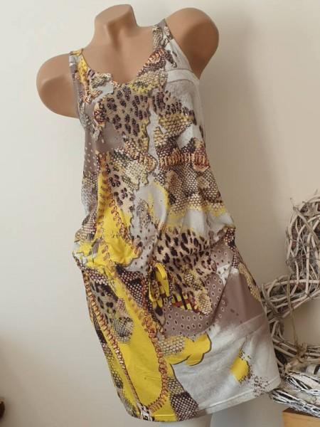 XL 42 Snake Leo gelb Print MISSY Stretch Kleid tiefe Taille Tunnelzug ärmellos