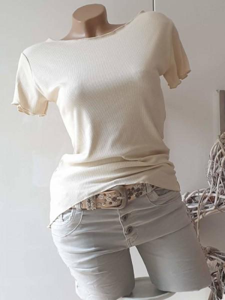 beige Baumwolle Feinripp Shirt 36 38 Kurzarmshirt Neu strechtig Wellensaum