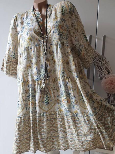 beige gemusterte Tunika Viskose Kleid 40 42 44 Hängerchen