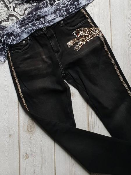 Jeans Lurex Streifen Pailetten Leopar M 38 = Gr. 36 Skinny Stretch Hose schwarz