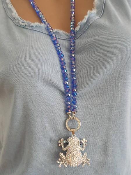 blaue Glitzer Glasperlen Halskette Kette Frosch mit Strass Steinchen