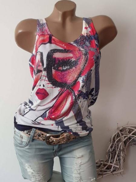 XL 42 Frau mit Brille Neue Kollektion MISSY Top Longtop Shirt Glitzer Nieten