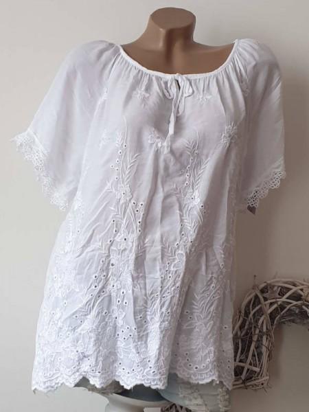 Lochstickerei Tunika Bluse weiss 40 42 44 Baumwolle aus Italien Häkelborde
