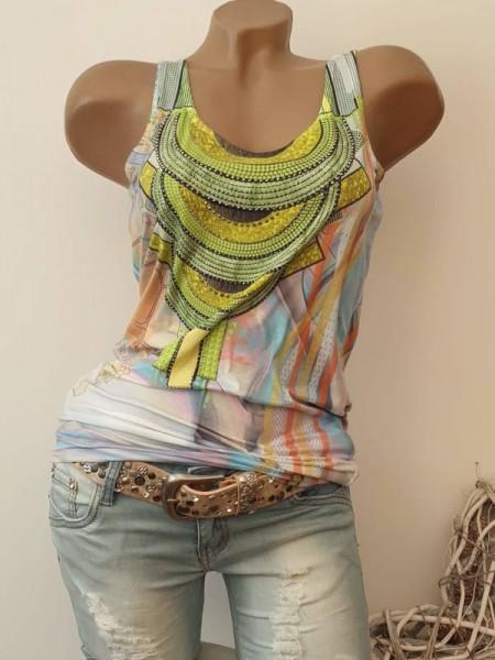 Longtop MISSY Top Shirt Glitzer L 40 Steinchen bunt gemustert