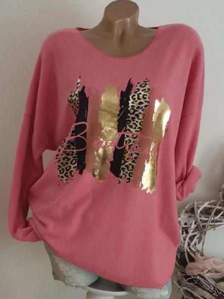 pink Pullover Tunika 42 44 46 Feinstrick Longsleeve Leo Gold NEU