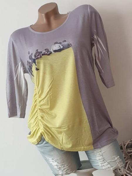 MISSY Tunika Shirt gelb grau Print M 38 40 seitliche Raffung Glitzer 3/4 Ärmel