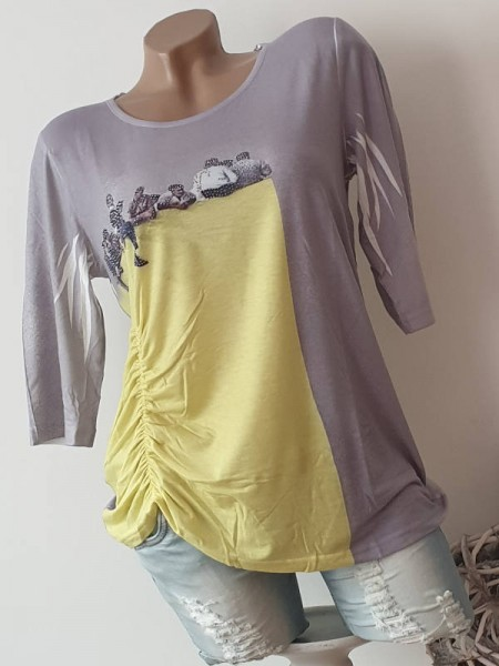 3/4 Ärmel Tunika Shirt MISSY neon gelb grau L 40 Ausbrenner Print Raffung
