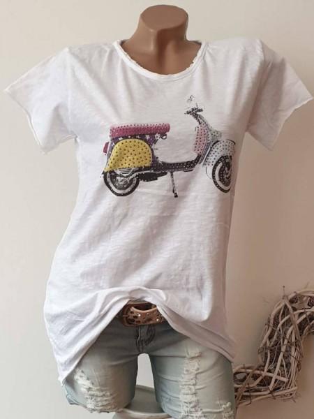 T-Shirt Shirt 36 38 40 42 Tunika weiss Retroprint bunt Glitzer Nieten unfinished