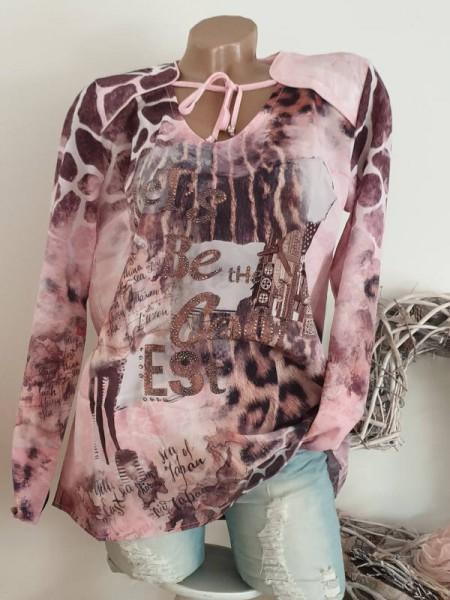 MISSY Tunika rosa Letterprint L 40 Gemustert Bluse vorne zum Schnüren Glitzer